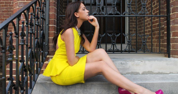WELCOME TO THE NEW FOXY OXIE SUPERNOVA - YELLOW ASOS PEPLUM DRESS - PINK ALDO SHOES