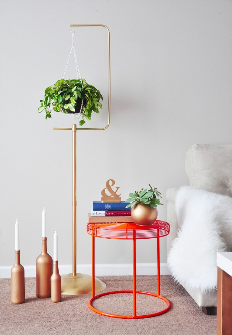 DIY Macramé Plant Hanger + Gold Plant Stand on Hanging Plant Stand  id=49041