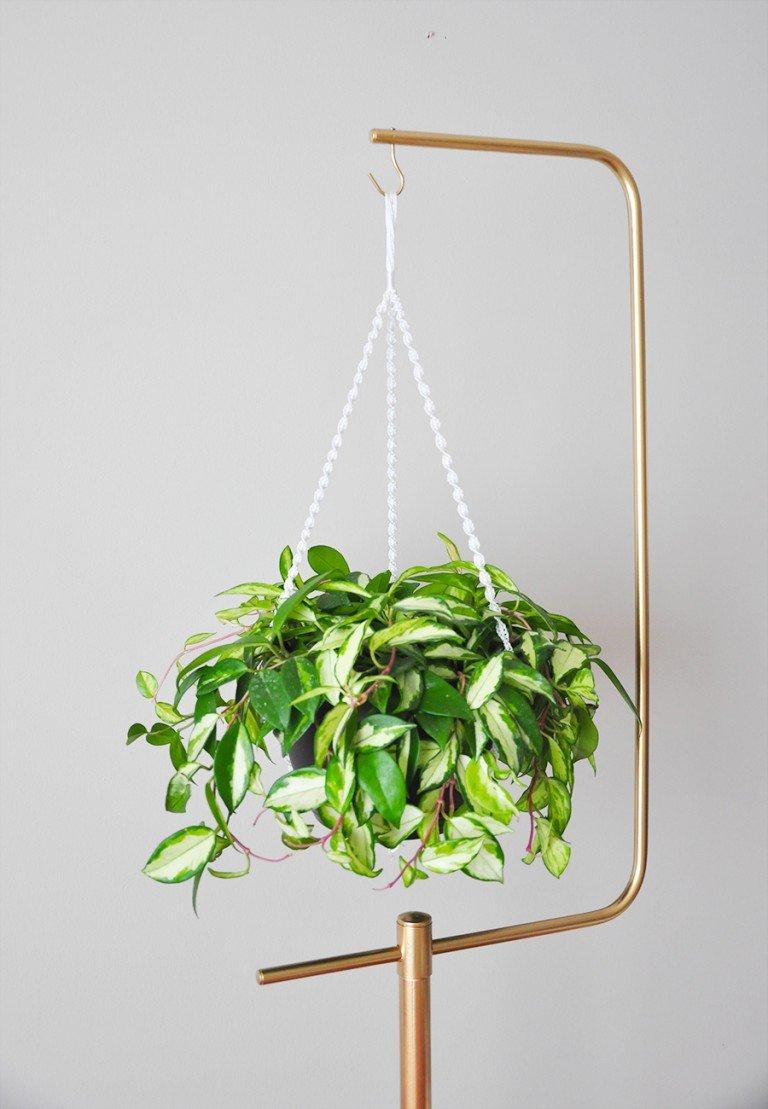 diy macramé plant hanger gold plant stand