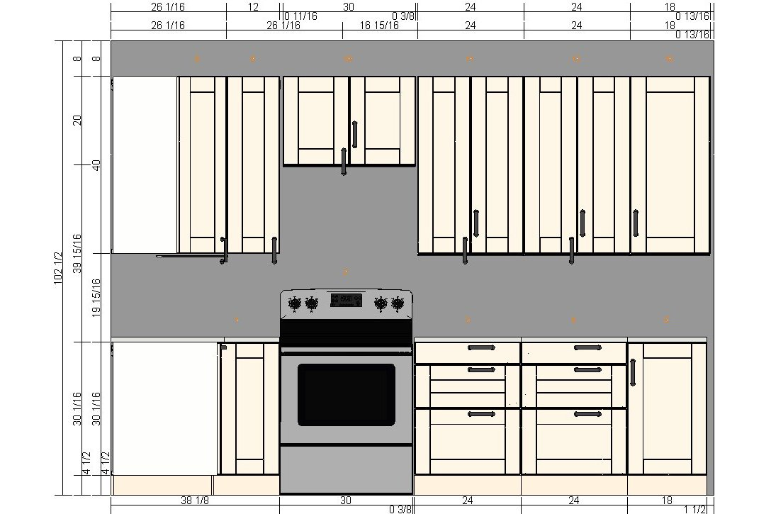Kitchen cabinets sizes for Kitchen cabinets height