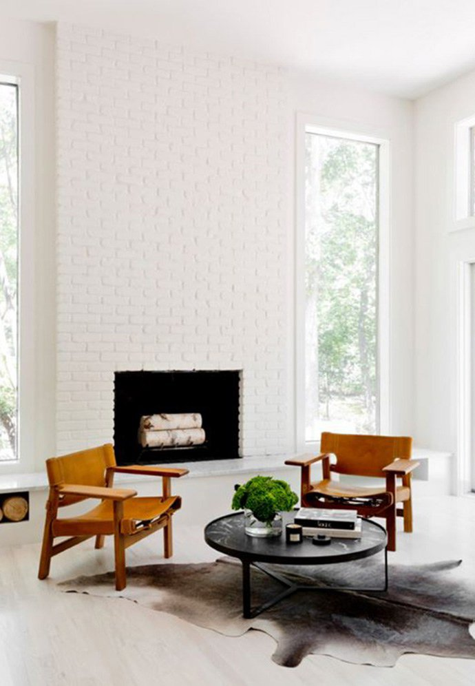 Fireplace Makeover Painting the Brick Fireplace White - COCOCOZY