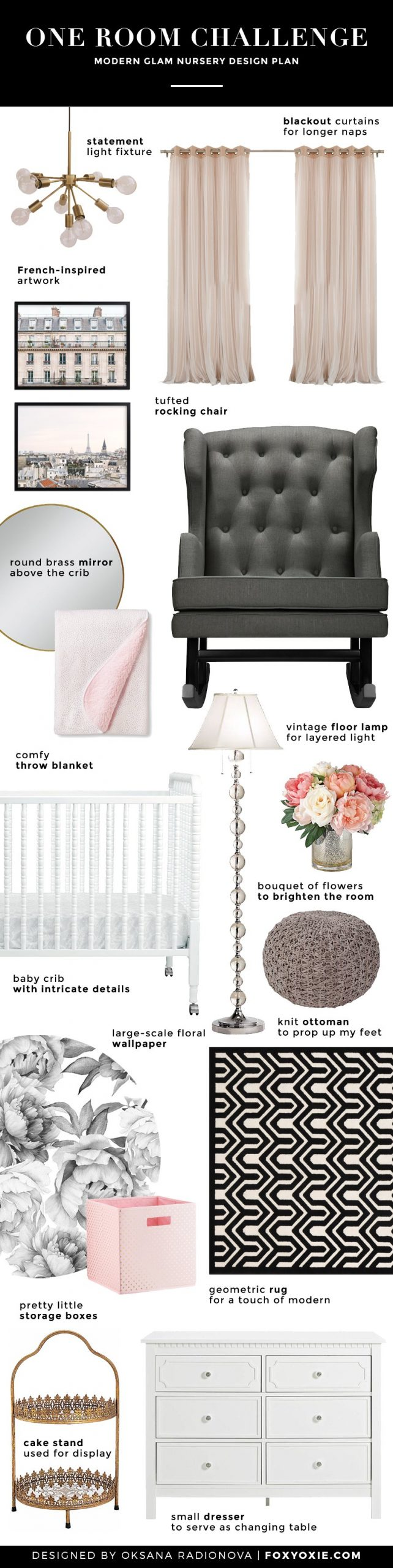 Spring 2017 One Room Challenge, Week 1: A Modern Glam Nursery for Our Baby Girl