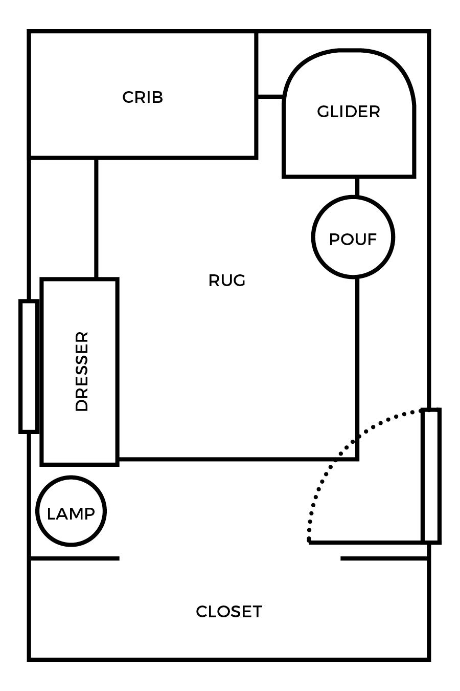 Small Nursery Layout & 3-D Room Mockup