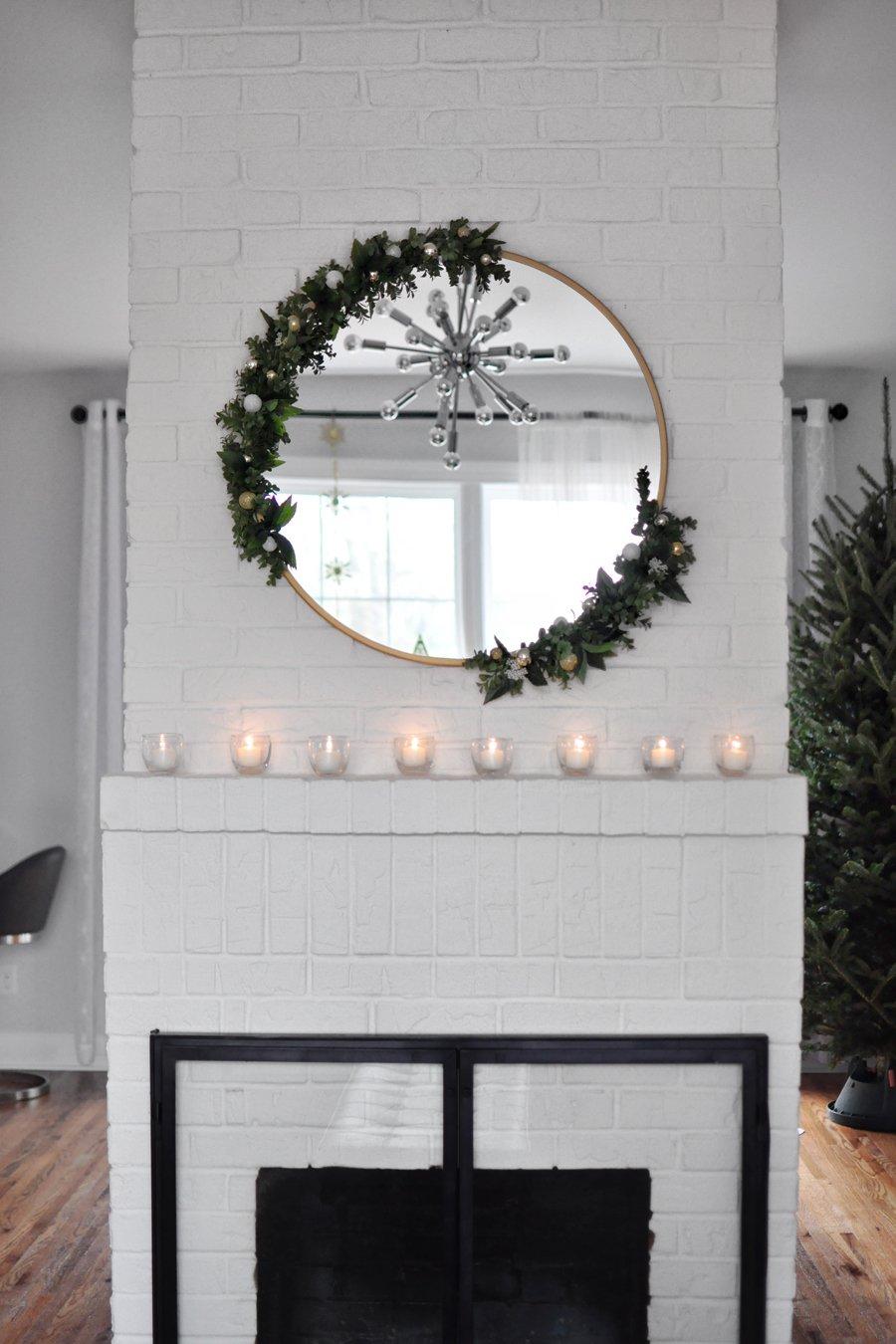 Diy Modern Asymmetrical Holiday Wreath On A Round Mirror