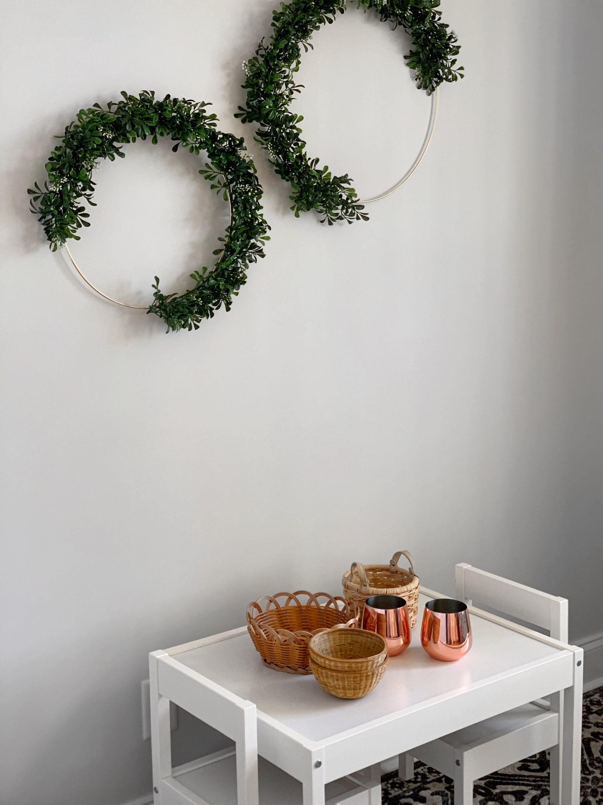 The Easiest DIY Gold Hoop and Greenery Wreath