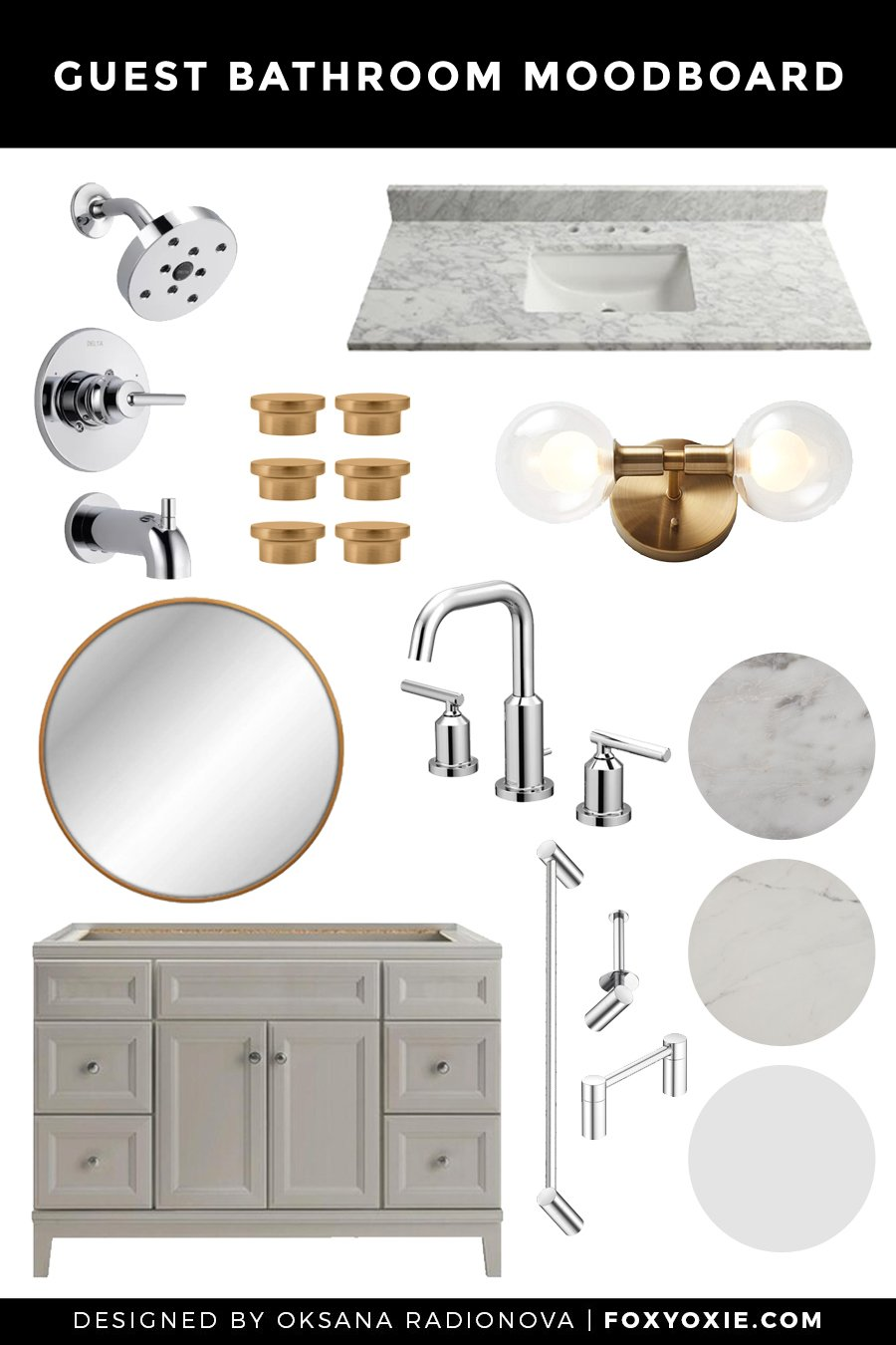 Guest Bathroom Design Plan, Moodboard + Before Images